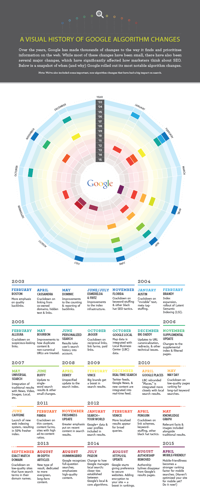 A Visual History of Google's Algorithm Updates [Infographic]
