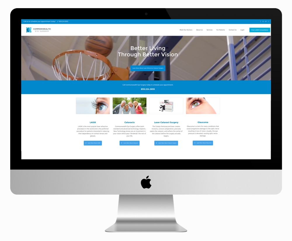New website for Commonwealth Eye Surgery, a Messenger client